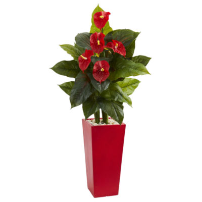 53 Anthurium Artificial Plant in Red Tower Vase(Real Touch)