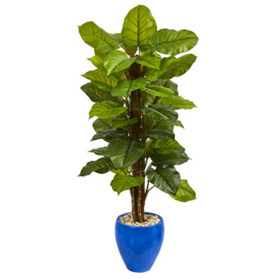 5' Large Leaf Philodendron Artificial Plant in Blue Planter (Real Touch)