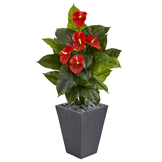4' Anthurium Artificial Plant in Slate Planter (Real Touch)