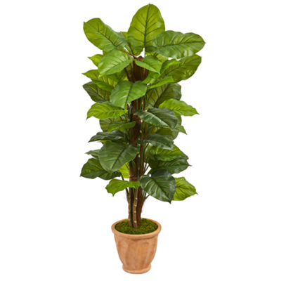 5' Large Leaf Philodendron Artificial Plant in Terracotta Planter (Real Touch)
