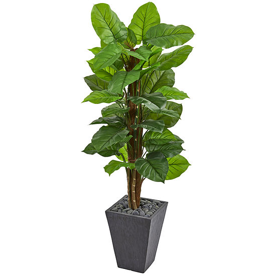 5' Large Leaf Philodendron Artificial Plant in Slate Planter (Real Touch)