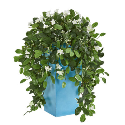28 Stephanotis Artificial Plant in Turquoise Planter