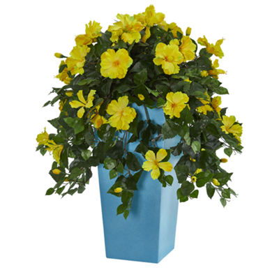 31'' Hibiscus Artificial Plant in Turquoise Tower Vase