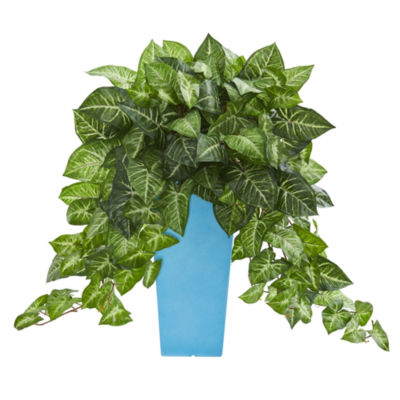 25'' Nephthytis Artificial Plant in TurquoisePlanter