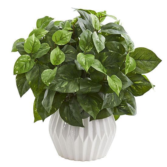 16'' Pothos Artificial Plant in White Ceramic Vase
