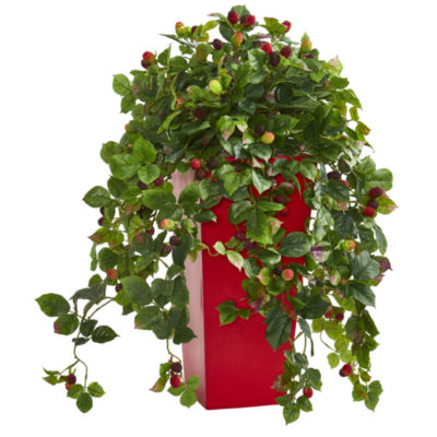 30 Raspberry Artificial Plant in Red Tower Planter