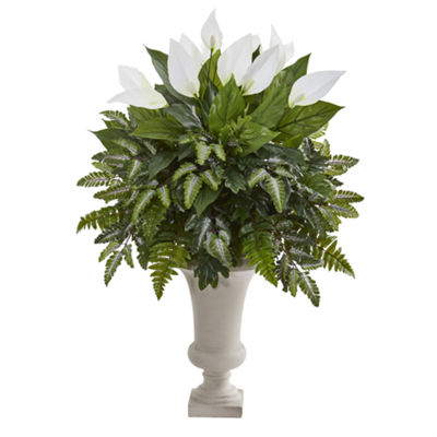 Mixed Spathiphyllum Artificial Plant in White Urn