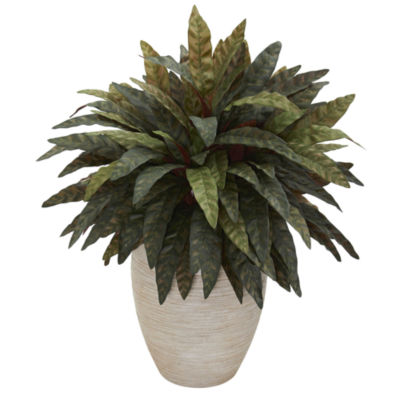 Peacock Artificial Plant in Sand Colored Oval Planter