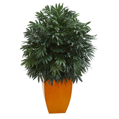 4' Triple Bamboo Artificial Plant in Orange Planter