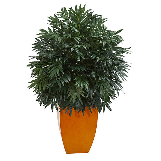 4' Triple Bamboo Artificial Plant in Orange Planter