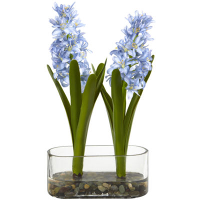 14 Double Hyacinth in Vase Artificial Arrangement