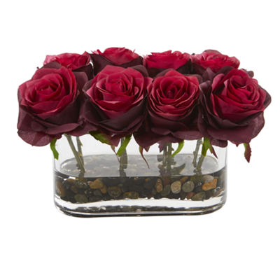 "5.5"" Blooming Roses in Glass Vase Artificial Arrangement"