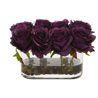 5.5 Blooming Roses in Glass Vase Artificial Arrangement