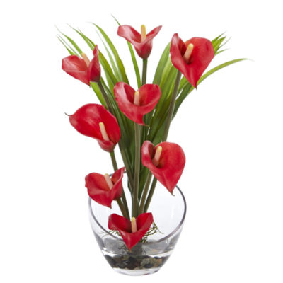 15.5 Calla Lily and Grass Artificial Arrangement in Vase