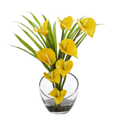 Calla Lily and Grass Artificial Arrangement in Vase