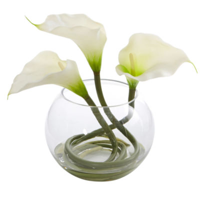 9'' Calla Lily Artificial Arrangement in Rounded Glass Vase