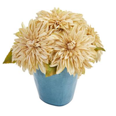 11'' Dahlia Artificial Arrangement in Blue Ceramic Vase