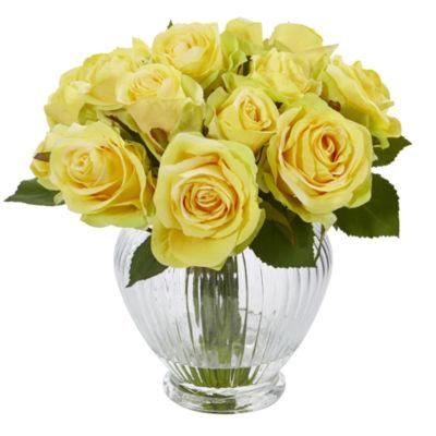 9 Rose Artificial Floral Arrangement in Elegant Glass Vase
