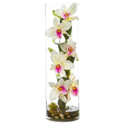 20'' Cattleya Orchid Artificial Floral Arrangement in Cylinder Vase