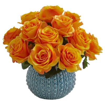 11.5'' Rose Artificial Arrangement in Blue Ceramic Vase