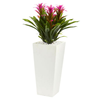 Triple Bromeliad Artificial Plant in White Tower Planter