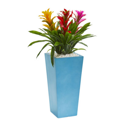 26 Triple Bromeliad Artificial Plant in TurquoiseTower Vase