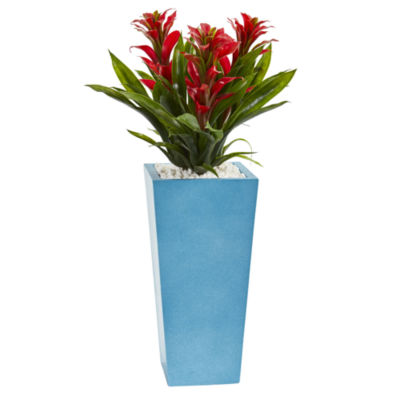 26 Triple Bromeliad Artificial Plant in TurquoiseTower Vase