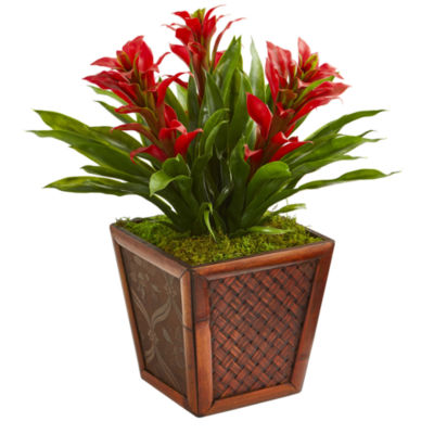 Triple Bromeliad Artificial Plant in Decorative Planter