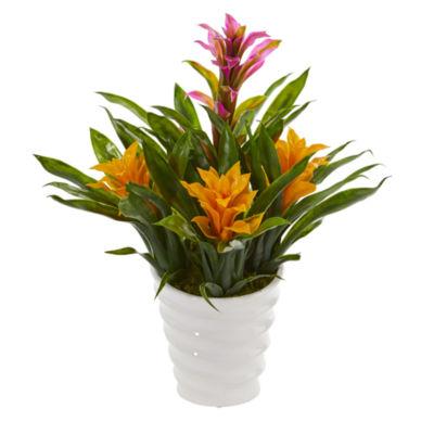 Bromeliad Artificial Plant in White  Vase