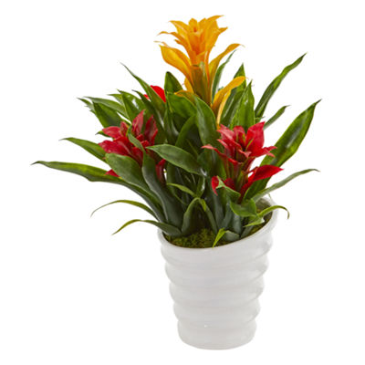 Bromeliad Artificial Plant in White  Vase