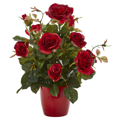 Rose Artificial Plant in Red Planter (Set of 2)