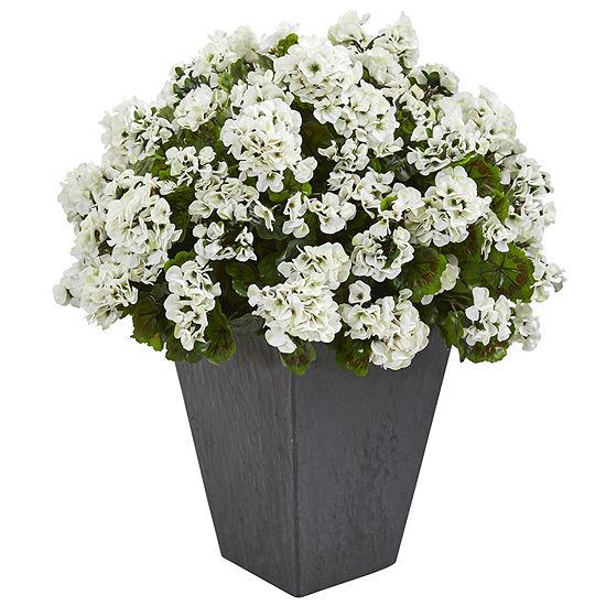 Geranium Artificial Plant in Slate Plater UV Resistant (Indoor/Outdoor)