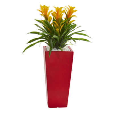 Triple Bromeliad Artificial Plant in Red Planter
