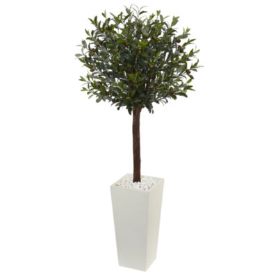 5' Olive Topiary Artificial Tree in White TowerPlanter