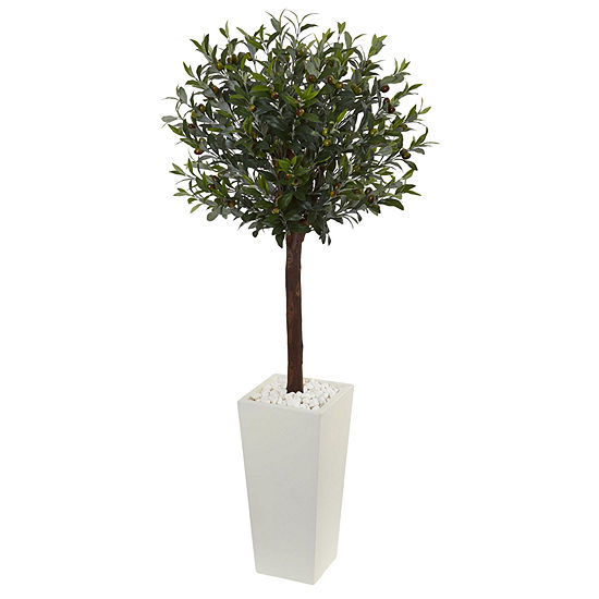 5 Olive Topiary Artificial Tree In White Towerplanter