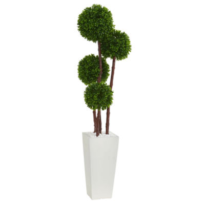 4' Boxwood Artificial Topiary Tree in Planter UVResistant (Indoor/Outdoor)