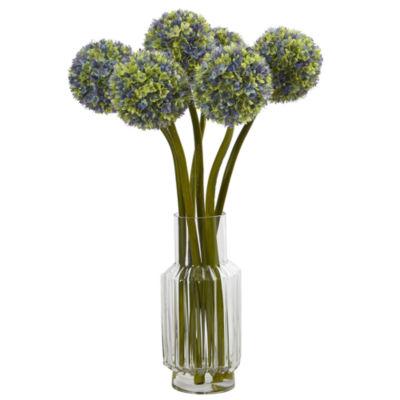"30"" Ball Flower Artificial Arrangement in Glass Vase"