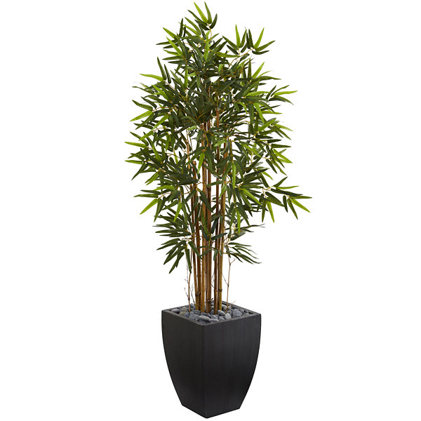 5' Bamboo Artificial Tree in Black Wash Planter