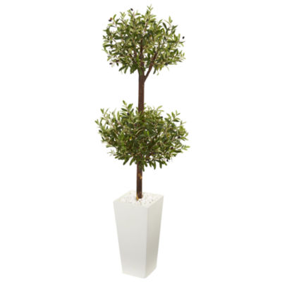 5.5' Olive Artificial Double Topiary Tree in WhiteTower Planter