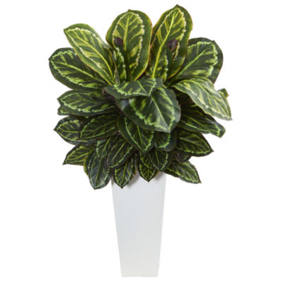 Maranta Artificial Plant in White Tower Vase