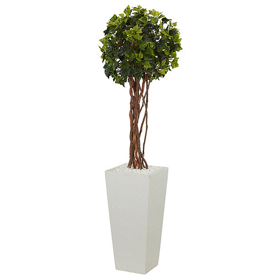 3' English Ivy Artificial Tree in White Tower Planter; UV Resistant (Indoor/Outdoor)