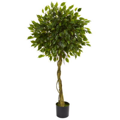 5' Ficus Artificial Topiary Tree; UV Resistant (Indoor/Outdoor)