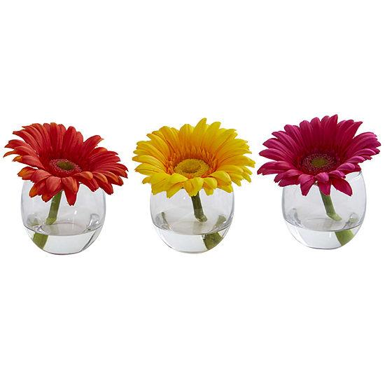 Gerbera Daisy Artificial Arrangement in Glass Vase; Set of 3