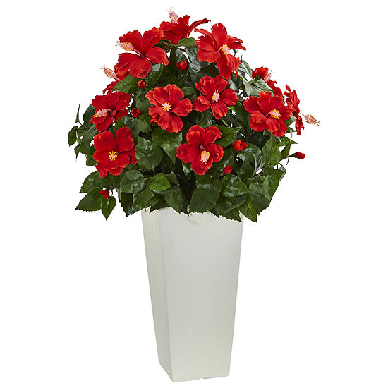 Hibiscus Artificial Plant in White Tower Planter