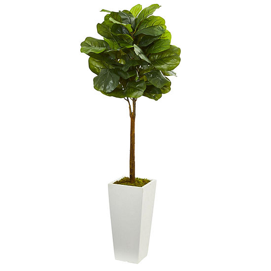 4' Fiddle Leaf Artificial Tree in White Tower Planter