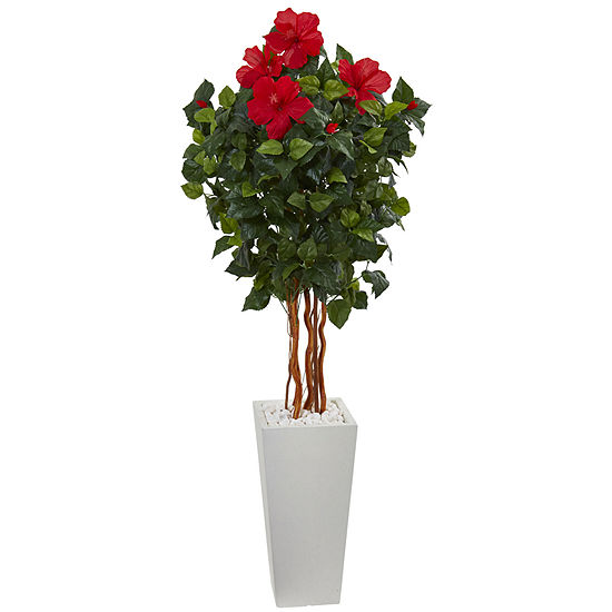 5 Hibiscus Artificial Tree In White Tower Planter