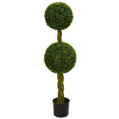 4' Boxwood Double Ball Artificial Topiary Tree with Woven Trunk; UV Resistant (Indoor/Outdoor)