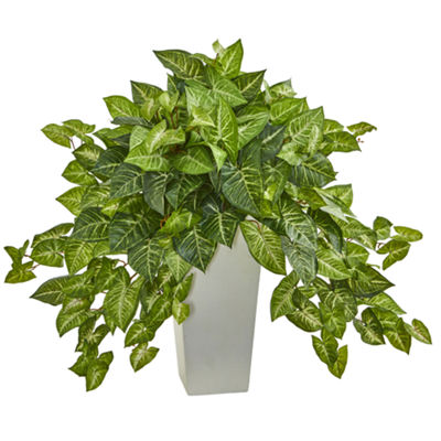 Nephthytis Artificial Plant in White Tower Planter