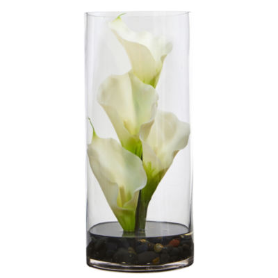 "12"" Calla Lily Artificial Arrangement in Cylinder Glass Vase"