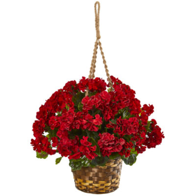 "19"" Geranium Hanging Basket Artificial Plant UVResistant (Indoor/Outdoor)"